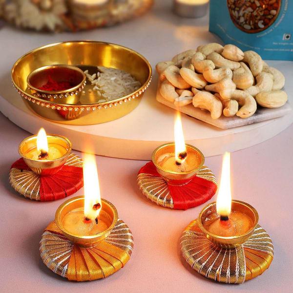 Pooja Thali With Cashews And Diyas (Set of 4)