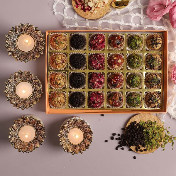Premium Dry Fruit Sweets With T-Light Holders
