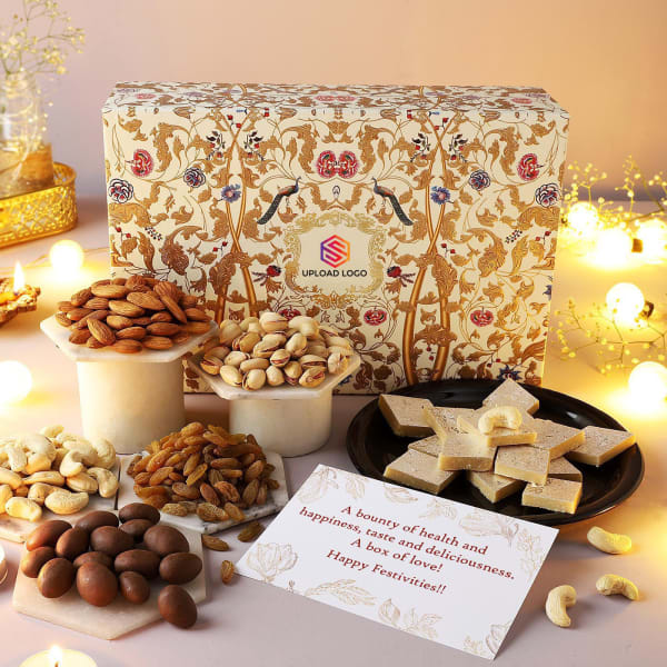 Premium Dry Fruits And Sweets Diwali Hamper - Customized With Logo