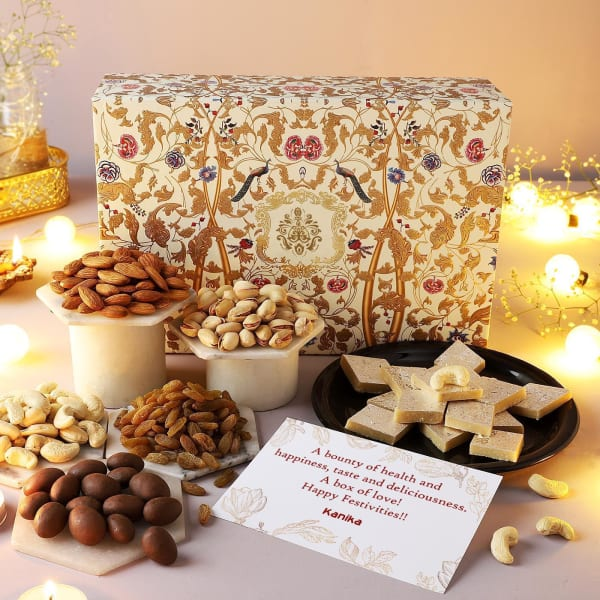 Premium Dry Fruits And Sweets Personalized Diwali Hamper