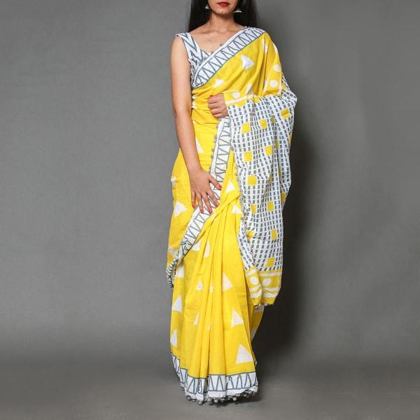 Printed Cotton Saree with Blouse Piece