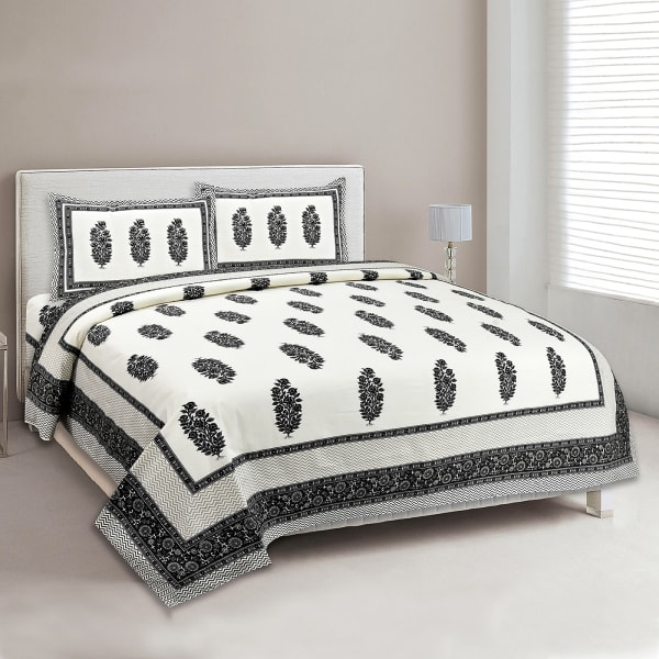 Printed Duo Chromatic Double Bed Sheet with Pillow Cover