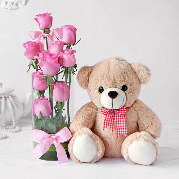 Pristine 10 Pink Roses in Vase with Teddy