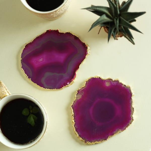 Purple Agate Stone Coasters - Set of 2