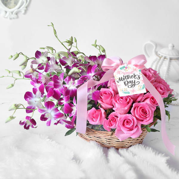 Purple Orchids & Pink Roses in Basket for Mother