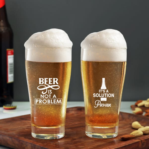 Quirky Personalized Beer Glasses (Set of 2)