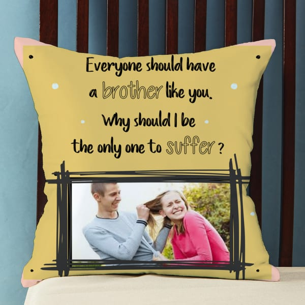 Quirky Personalized Satin Pillow for Brother