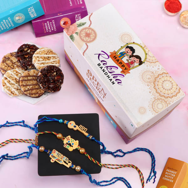 Quirky Rakhi Set Of 3 With Cookies Box
