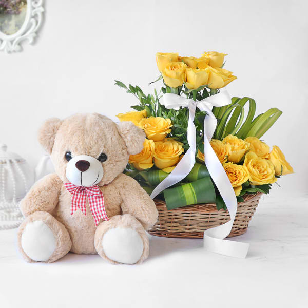 Radiant Yellow Rose Arrangement with Teddy