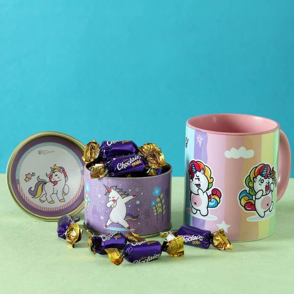 Rainbow Unicorn Mug with Chocolate Box Hamper for Kids