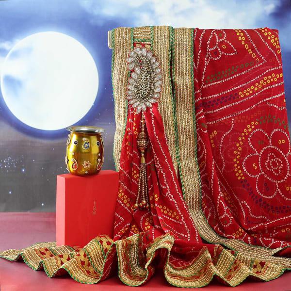 Rajasthani Bandhani Dupatta with Decorative Karwa