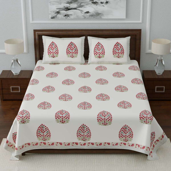 Rajasthani Block Printed Double Bedsheet with Pillow Covers