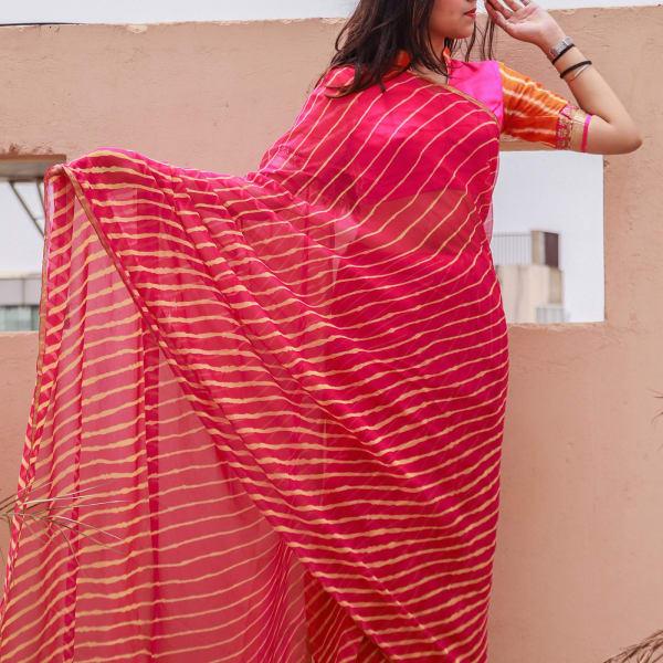 Rajasthani Leheriya Designer Chiffon Saree
