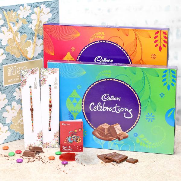 Rakhi Combo with Celebration Chocolate Boxes