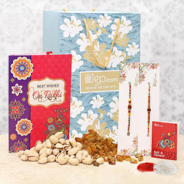 Rakhi Combo with Dry Fruits and Card