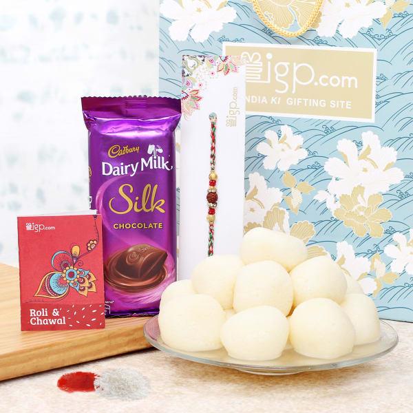 Rakhi Hamper with Rasgulla and Chocolate