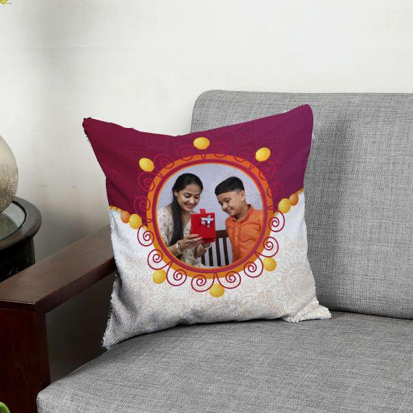 Rakhi Personalized Reversible Sequin Cushion
