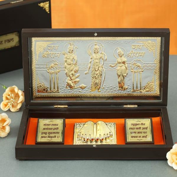 Ram Darbar Gold & Silver Plated Charan Paduka in Box
