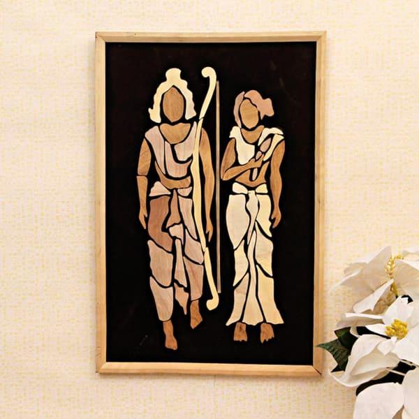 Ram & Sita Wooden Relief Painting