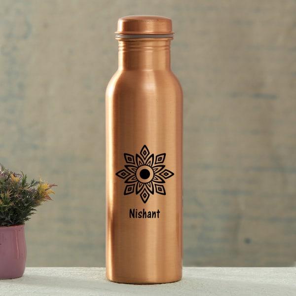 Rangoli Personalized Copper Water Bottle