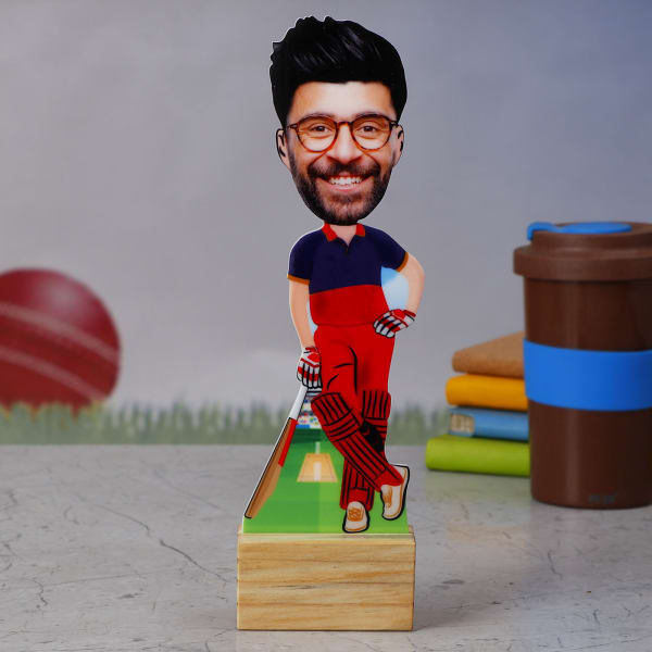RCB Cricket Fan Personalized Caricature Stand