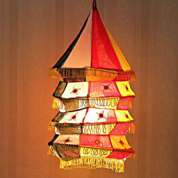 Red and Yellow Applique Cloth Lantern