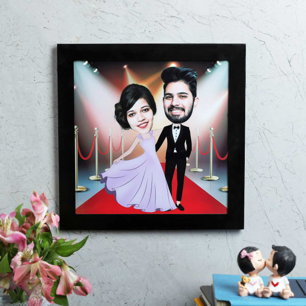 Red Carpet Couple Personalized Caricature Frame