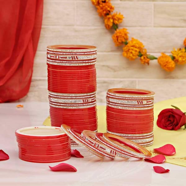 Red Chura with Dazzling Stone Work Bangles: Gift/Send