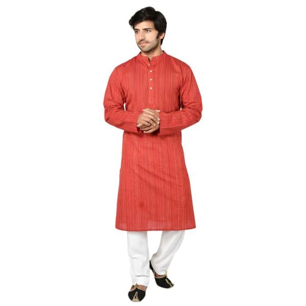 Red Cotton Long Kurta For Men