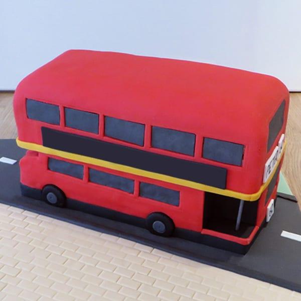 Red Double Decker Bus Birthday Fondant Cake (3.5 Kg)