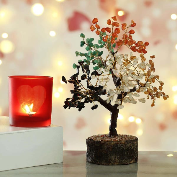 Red Glass Heart Design Tea Light Holder with Colorful Stone Tree