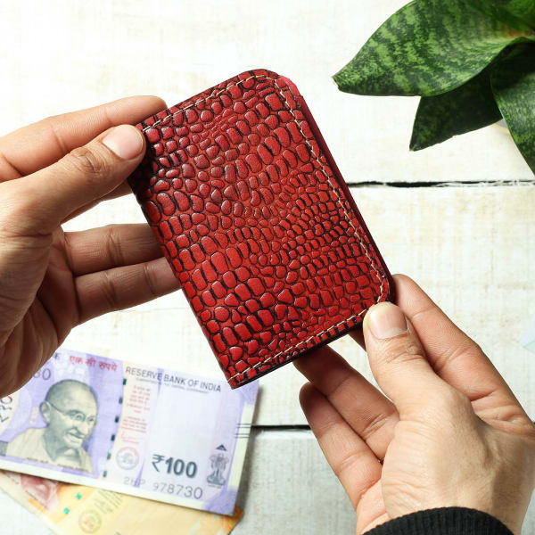 Red Leather Card Holder with Croc Embossing