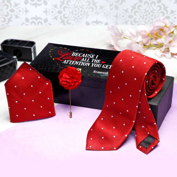 Red Necktie Set in Personalized Gift Box