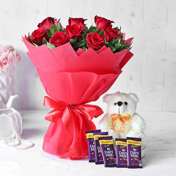 Red Rose Bouquet with Teddy & Cadbury Chocolate Bars