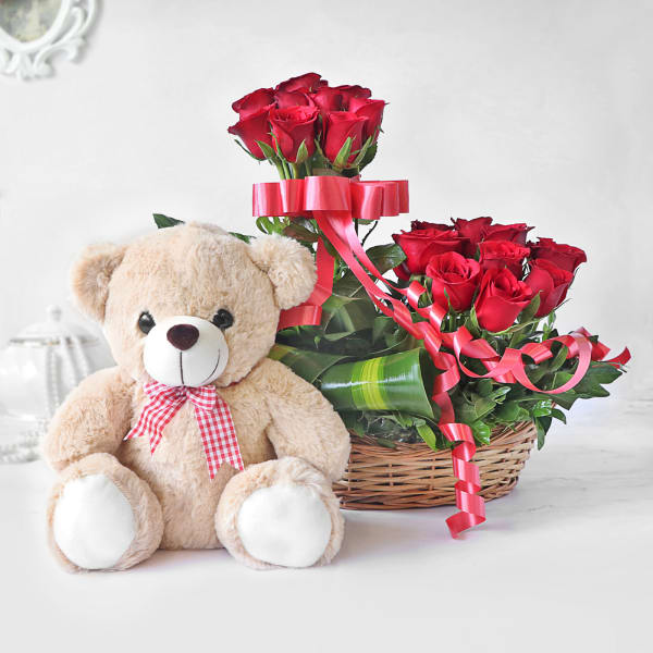 Red Roses in Basket with Cute Teddy