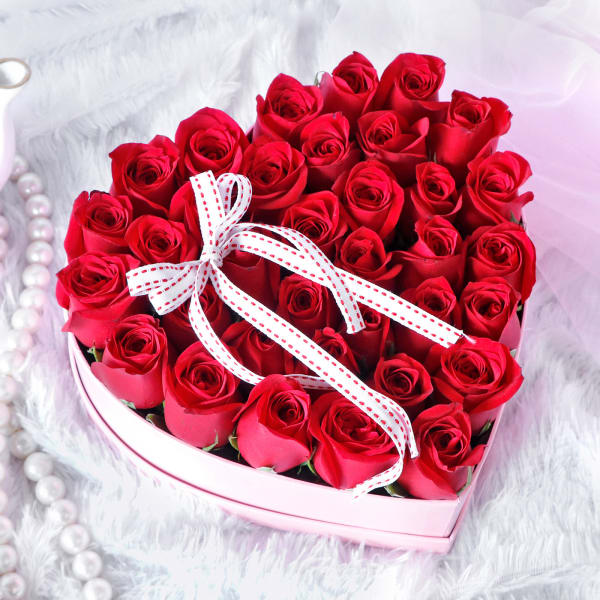 Red Roses in Heart Shaped Gift Box (40 Stems)