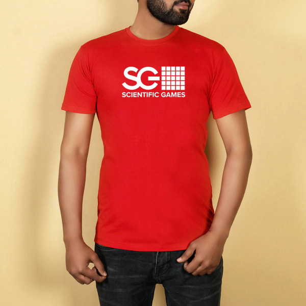 Red Round Neck Tshirt With Logo