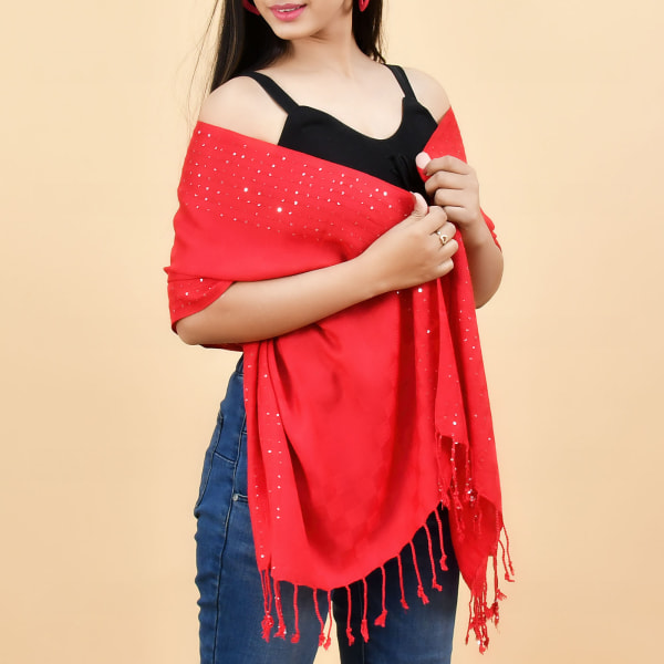 Red Stole with Sequins Work