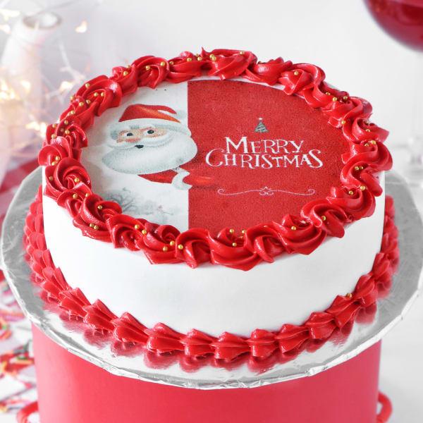 Red Velvet Christmas Photo Cake (Half Kg)