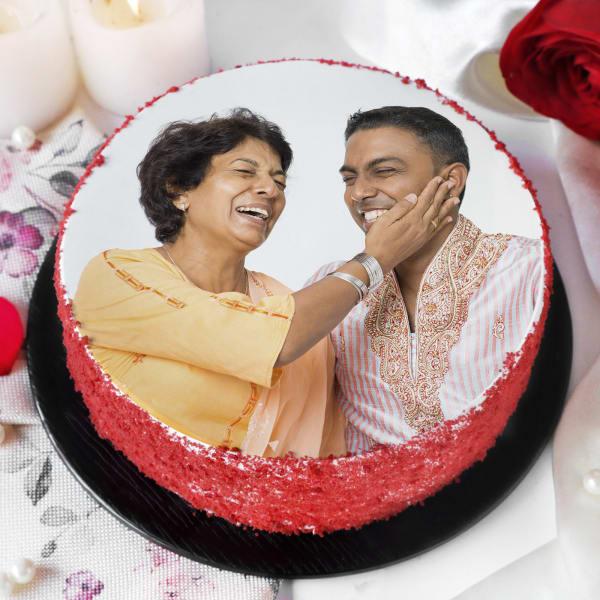 Red Velvet Photo Cake for Mother (Half Kg)
