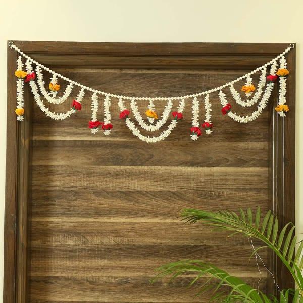 Red & White Artificial Jasmine Flower Design Toran