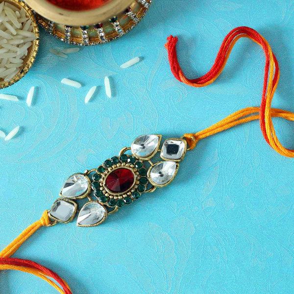 Red & White Stones Kundan Rakhi