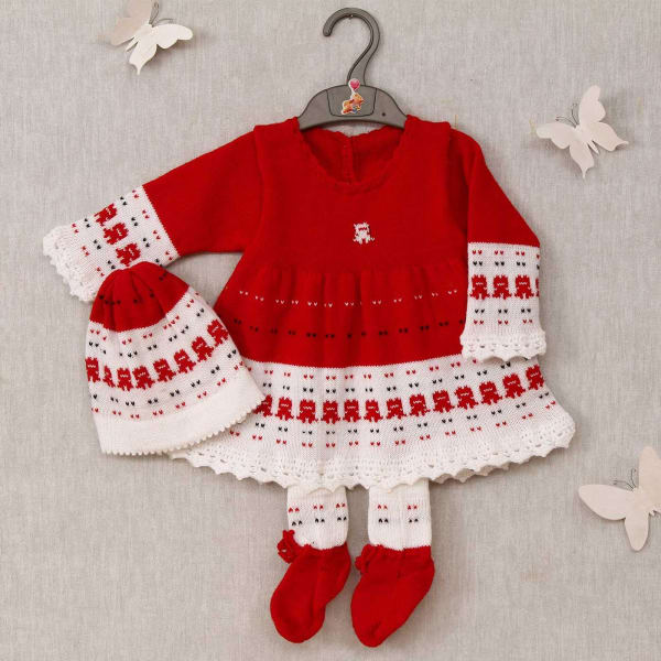 46d9139a8fe Gifts · Fashion and Lifestyle · Kids Clothing · Sets and Suits. Red   White  Woolen Frock With Socks   Cap for Baby Girl
