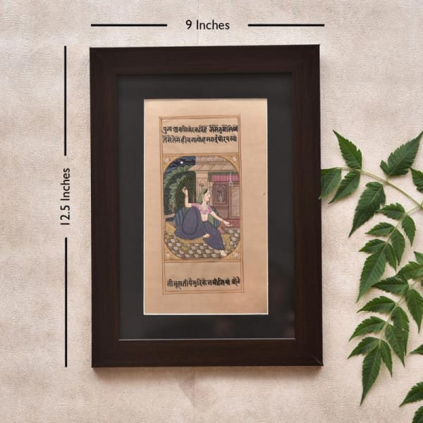 Relaxing Beautiful Lady in Wooden Framed Painting