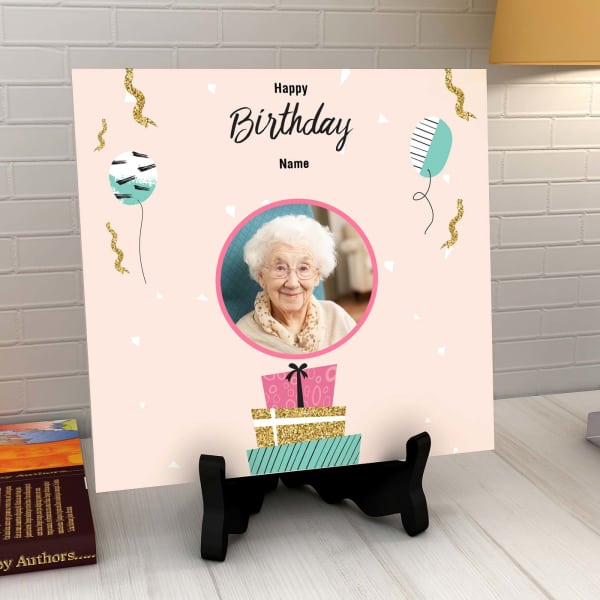 Ribbons And Balloons Personalized Birthday Tile