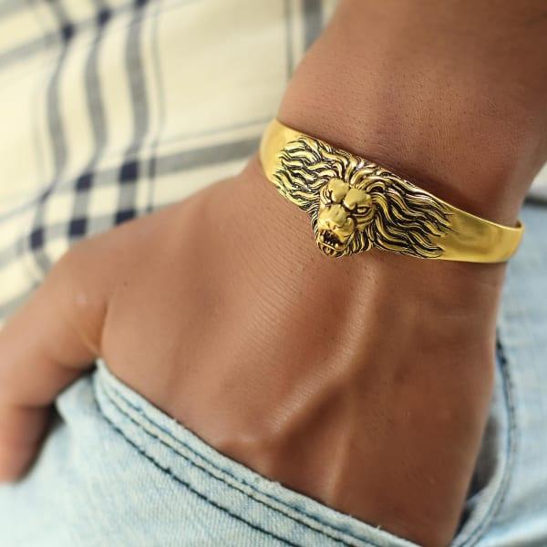 Roaring Lion Engraved Oxidised Gold Finish Men's Bracelet