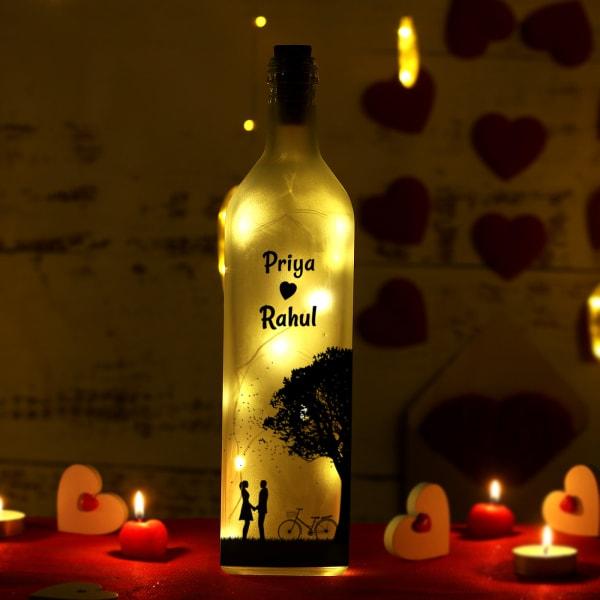 Romantic Couple Personalized Glass Bottle Lamp