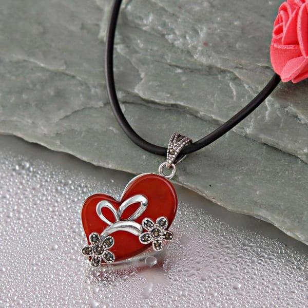 Romantic Heart CZ Stone 92.5 Sterling Silver Pendant Necklace