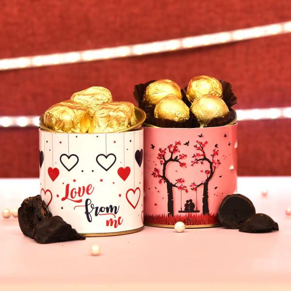 Romantic Love Can Combo of Brownie & Chocolate Truffles