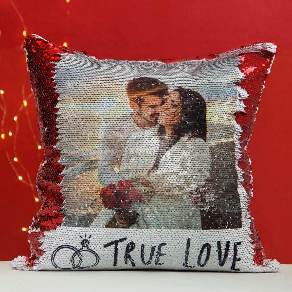 Romantic Personalized Sequin Cushion